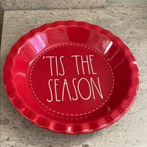 "Rae Dunn ""Tis' The Season"" ceramic pie plate."